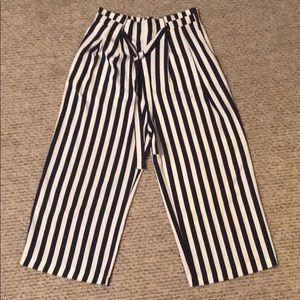 Zara flowy pant - navy and white striped